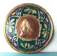 Picture Ivan Turgenev Vintage Russian Pressed Brass Plaque enameled Embossed Old