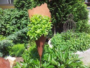 Pflanztüte Edelrost 40 cm, Handgefertigte Rosttüten zum bepflanzen von Rostikal