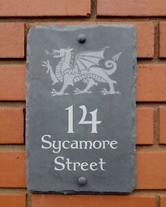house sign with welsh dragon natural slate