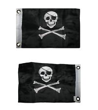 """12x18 Jolly Roger Pirate Eye Patch Double Sided 12""""x18"""" Flag Boat Motorcycle"""