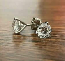 DIAMOND EARRINGS STUD D VS2 ROUND 2 CT SOLITAIRE 14K WHITE GOLD 3 PRONGS MARTINI