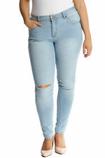 New Ladies Plus Size Jeans Womens Ripped Frayed Straight Leg Pants Soft Nouvelle