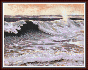 'THE FORCE OF THE OCEAN' Cross Stitch CHART - DMC Symbols/Black and White Chart