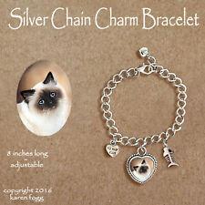 Birman Longhair Cat - Charm Bracelet Silver Chain & Heart