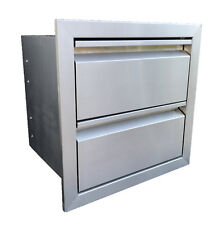 """Double Drawer Outdoor Kitchen Bbq Island 304 Stainless Steel 19""""W x 19""""H"""