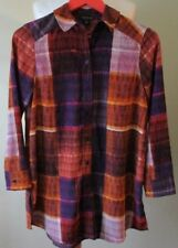 TOPSHOP TOP SHIRT Blouse Orange Purple Oversized Checks Plaid Sz 6 BNWT