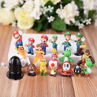 18pcs Super Mario Bros Different Figures Yoshi Luigi Goomba Toy Cake Topper