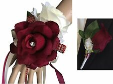 2pc Set - Burgundy and Ivory Wrist Corsage and Boutonniere (BCset-40)