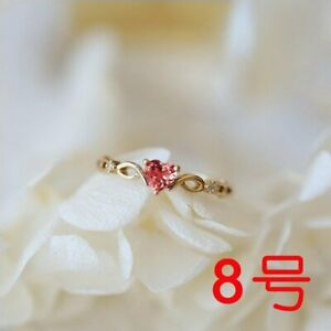 Elegant 14k Gold Heart Zircon Crystal Birthstone Ring Women Wedding Jewelry Gift