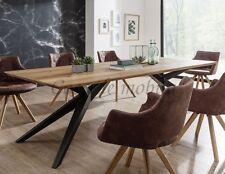 Massivholz Eßtisch 260x100 Wildeiche massiv geölt Metallfüße Eßzimmer tisch holz