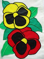 "SUMMER PANSIES FLORAL MINI APPLIQUE GARDEN FLAG BANNER NYLON 11"" X 15"" NEW"
