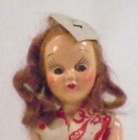 Valentine Doll Hard Plastic Hearts Auburn Mohair Wig 7.5in. Vintage As Is