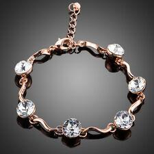 18K Gold GP Made With Swarovski Crystal Elements Wave Bead Rose Bangle Bracelet