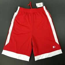 Starter Mens Athletic Shorts Sz M 32-34 Drawstring Mesh Basketball Red Nwt New