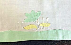 Pr of Vintage Antique Linen Towels w/ Applique Embroidery   WW84