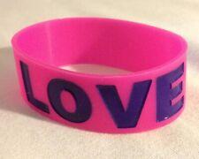 "Pink And Purple 1"" Jumbo Rubber ""Love"" Bracelet/Wrist Band Ja-ru"