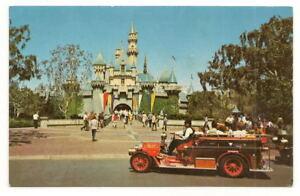 ANAHEIM CA Disneyland Castle & Fire Engine Vtg 1971 PC