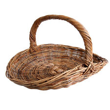 Large Wicker Rattan Fireside Trug Basket for Logs, Garden or Display