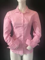 T.M. LEWIN Women's Pink Fully Fitted Long Sleeve Cuff Link Shirt Blouse UK12