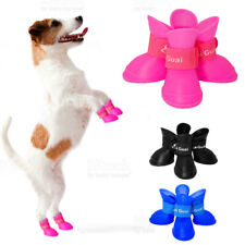 4 X Puppy Small Pet Dog Rain Boots Shoes Waterproof Protective Rubber Booties