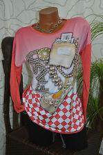 Shirt Longshirt Top Glitzer Steine Motiv Exclusiv langarm rot melone Größe 42