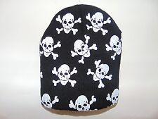 BLACK WINTER SKULL AND CROSSBONES KNIT BEANIE CAP SKI HAT HATS CAPS BIKER BIKE