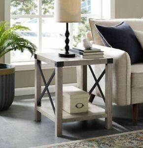 Walker Edison 18in Gray Wash Side table