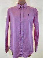 POLO Ralph Lauren pink stripe Custom fit long sleeve shirt blouse top size 10