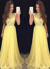 Lace and Chiffon Long Prom Dresses Pageant Party Evening Gown Custom Size 4 6 8+