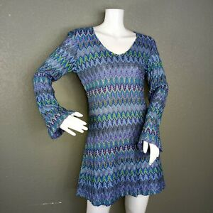 NWT Vintage EXPRESS Tricot Zig Zag Knit Overlay Dress Size Small Long Sleeves