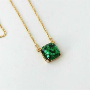 Kate Spade New York Cause a Stir Emerald Green Square Pendant Necklace