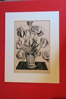 "Signé, Roy LICHTENSTEIN, Pop Art  gouache au pochoir ""Black Flowers"""