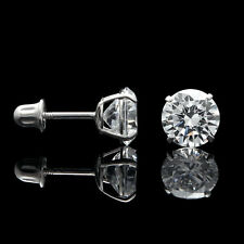 2.5CT Round Created Diamond Stud Earrings 14K White Gold Double Basket Screwback