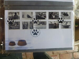 UK 2001 CATS AND DOGS SET 10 STAMPS FDC FIRST DAY COVER