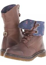 Dr. Martens Brown Aimile Cap Toe  Leather Boots 9 Eye Floral Lining US 10 UK 8