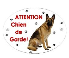 Plaque Attention au chien Berger allemand personnalisée avec votre texte
