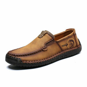Men's Causal Leather Loafers Walking Working Moccasins Driving Shoes Vintage