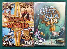 Lot of 7 Match PC Games Deep Blue Sea I & II + Legends of the World Egypt Rome