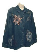 Alfred Dunner Women's Size 16 Blue Denim Floral Jacket