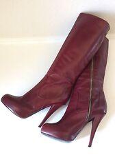 Alejandro Ingelmo Burgundy Platform High Heel Italian Leather Boots Sz 39.5