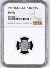 COSTA RICA: 5 CENTIMOS 1967, NGC MS-66, KM# 184.1a