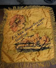 WW2 US Navy Seabees Silk Pillow Cover U.S. NAVAL BASE DEPOT GULFPORT,MISSISSIPPI