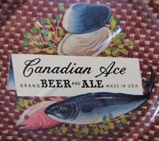 Old CANADIAN ACE BEER and ALE 'FISH CLAMS' Advertising Tin Tip Tray made in USA