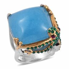 FROG BLUE QUARTZITE AUSTRIAN CRYSTAL YELLOW GOLD ION STAINLESS STEEL RING SIZE 8