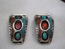 """Vintage STERLING Silver w/ TURQUOISE & CORAL 1"""" Wings Tips for Ladies' Watch"""