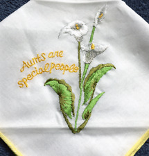 Aunts Are Special Embroidered Floral Handkerchief Vintage