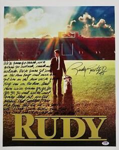 RUDY RUETTIGER Signed 16x20 Canvas Photo + Speech Quote ~ PSA/DNA COA + Proof