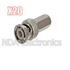 20 pcs RG6 Twist on to Male BNC Connector Coaxial Lot Pack