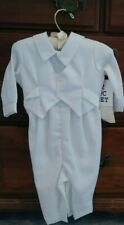 New baby boy 2 piece white baptismal christening gown/suit/hat NWT size 6 months
