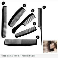 6X Black Beauty Hair Styling Hairdressing Plastic Barbers Brush Combs Plain Set